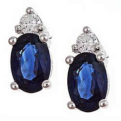 Fierra™ 14K White Gold 1.26ctw Oval Sapphire & Diamond Stud Earrings