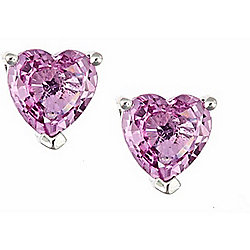 Fierra™ 14K White Gold Pink Sapphire Heart Stud Earrings
