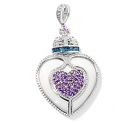 Dallas Prince Sterling Silver 34mm Agate, Topaz & Amethyst Heart Enhancer Pendant