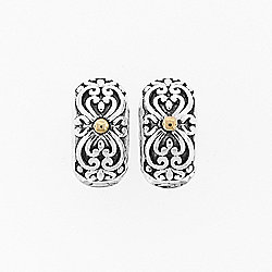 Belle Artique Sterling Silver 14K Gold Accented Filigree Huggie Hoop Earrings