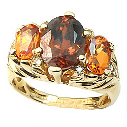 Gems en Vogue The Vault 14K Gold 4.12ctw Zircon, Spessartite Garnet & Diamond Ring - Size 6