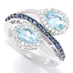 Gem Treasures® Sterling Silver 1.66ctw Sapphire, Aquamarine & White Zircon Ring