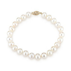Kwan Collections 14K Gold 7-8mm Near Round Freshwater Cultured Pearl Bracelet