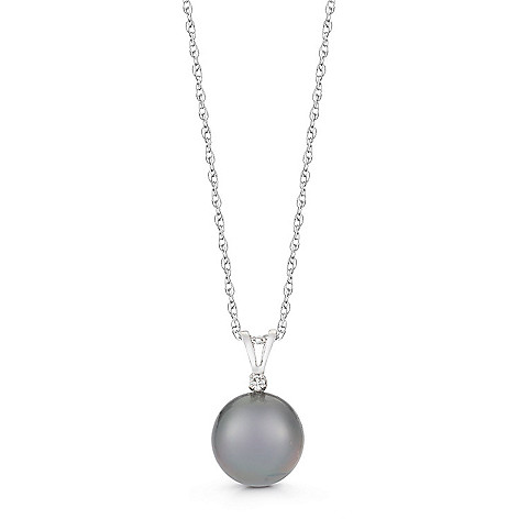 153-299- 14K White Gold 9-10mm Tahitian Cultured Pearl & Diamond Pendant