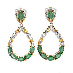Gems en Vogue 1.25 2.70ctw Multi Emerald Pear Shaped Drop Earrings - 153-797
