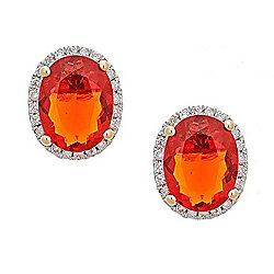 Fierra™ 14K Gold 2.73ctw Fire Opal & Diamond Oval Stud Earrings