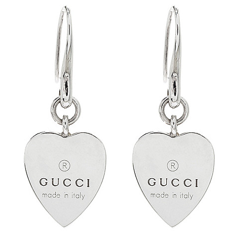 155 289 Gucci Trademark Sterling Silver 1 5 Heart Drop Earrings