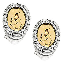 Artisan Silver by Samuel B. 18K Gold Accented Earrings, 5.8 grams