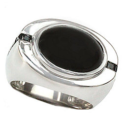 Men's en Vogue 14K White Gold 16 x 12mm Black Diopside & Black Spinel Ring - Size 9.5