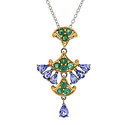"Gems en Vogue Asia 2.58ctw Tanzanite & Emerald Fan Pendant w/ 18"" Cable Chain"