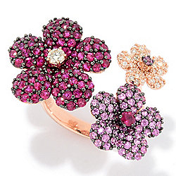 "EFFY ""Amore"" 14K Rose Gold 4.08ctw Diamond, Pink Sapphire & Ruby Flower Ring"