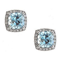 Fierra™ 14K White Gold 2.73ctw Aquamarine & Diamond Stud Earrings
