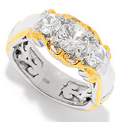 Gems en Vogue 1.55ctw White Zircon Three-Stone Band Ring