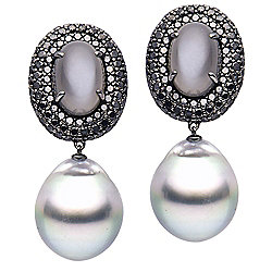 "Prestige Pearls® 18K Gold 1.5"" Tahitian Cultured Pearl, Grey Moonstone & Diamond Drop Earrings"
