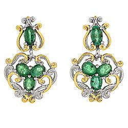 Gems en Vogue 1.52ctw Zambian Emerald Four-Stone Drop Earrings - 157-803