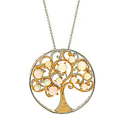 Gems en Vogue Ethiopian Opal Tree of Life Medallion Pendant w/ Cable Chain