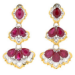 "Gems en Vogue 1"" 2.48ctw Multi Shape Ruby Three-Tiered Drop Earrings"