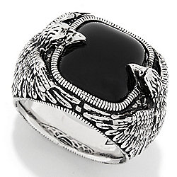 6e585c52da0882 EFFY Men's Sterling Silver 14.5 x 12.5mm Cushion Shaped Onyx Bird Ring