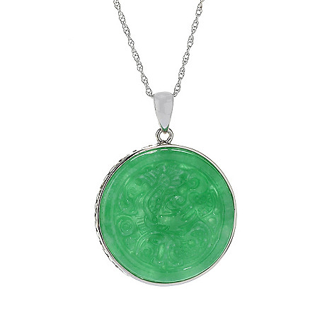 Kwan collections 25mm carved burmese jade circle pendant w 18 rope 158 422 kwan collections 25mm carved burmese jade circle pendant w 18 mozeypictures Choice Image