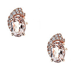 Fierra™ 14K Rose Gold 1.54ctw Morganite & Diamond Stud Earrings