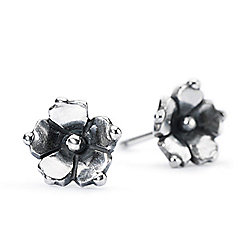 "Trollbeads ""Carolina Jessamine"" Sterling Silver Flower Stud Earrings"