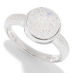 Gem Insider® Sterling Silver Round Drusy Textured Ring