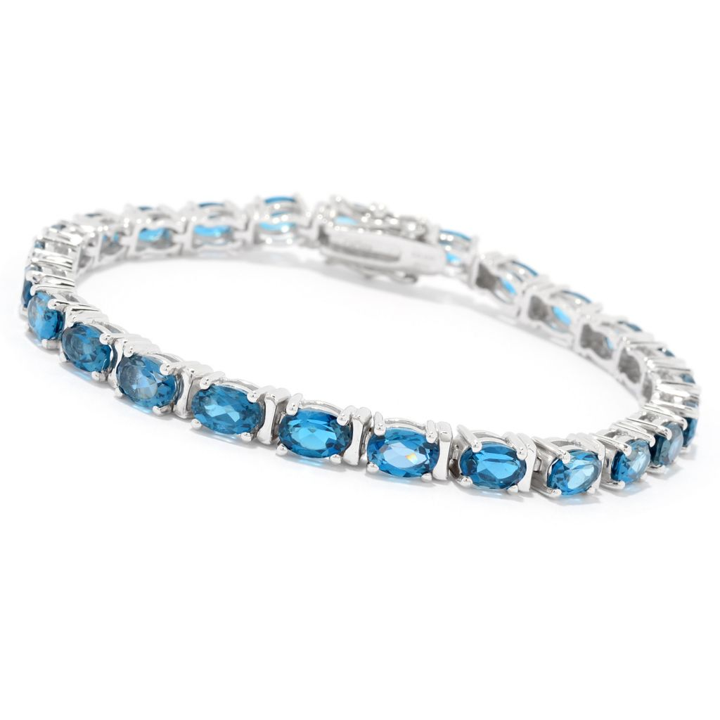 Fine Jewelry Genuine Sky Blue Topaz Oxidized Sterling Silver Line Bracelet