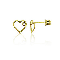 0c5c5fa4c 14K Gold Simulated Diamond Accented Open Heart Stud Earrings