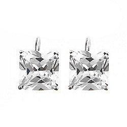 803554379 Brilliante® Sterling Silver 19.00 DEW Simulated Diamond Square Leverback  Earrings