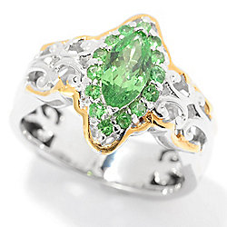 Gems en Vogue 0.88ctw Marquise-Shaped Tsavorite Halo Ring