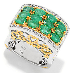 Gems en Vogue 3.00ctw Emerald Three-Row High-Set Ring