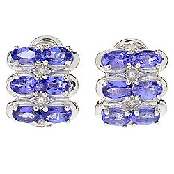 Gem Treasures® Sterling Silver 2.38ctw Tanzanite & White Zircon 3-Row Earrings
