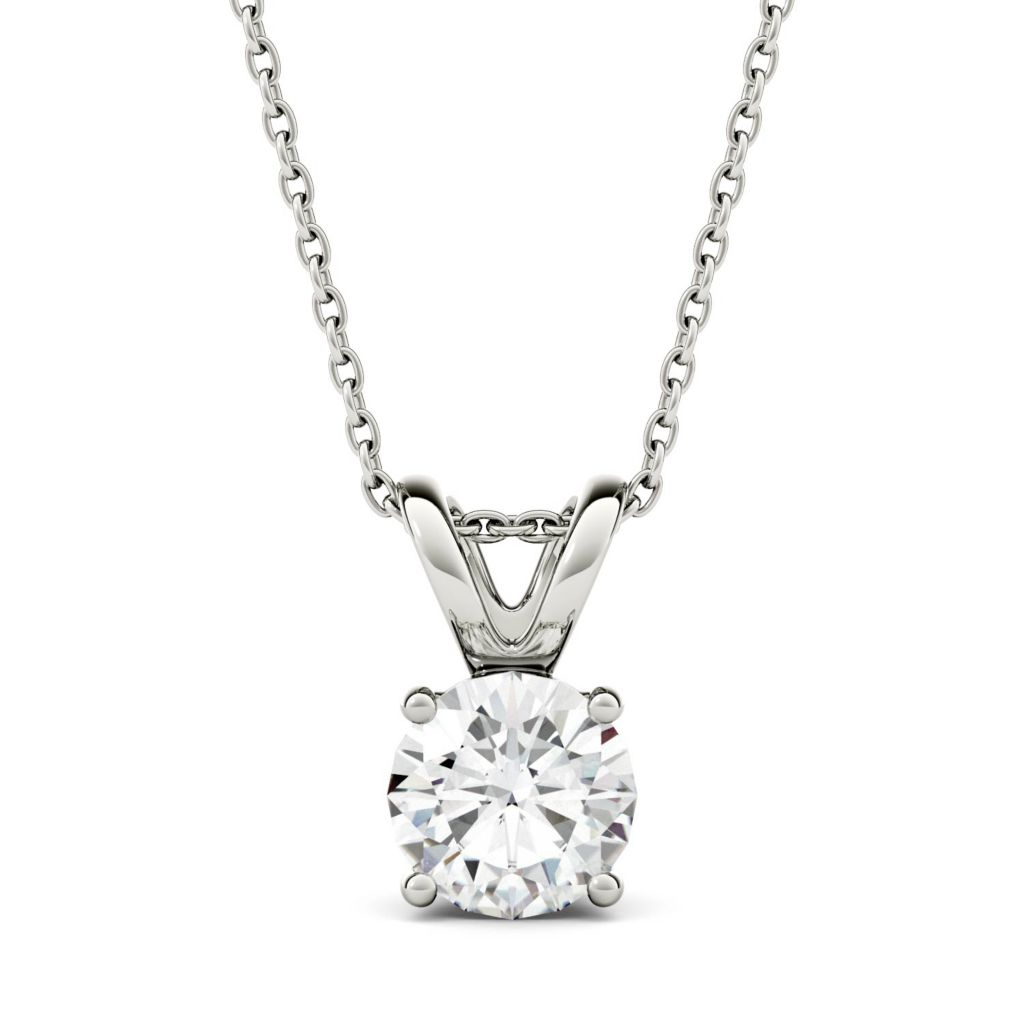 Moissanite by Charles & Colvard 14K White Gold 1 00 DEW Solitaire Pendant  w/ 18