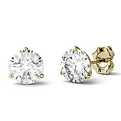 Forever One Colorless Moissanite 14K Gold 2.00 DEW Stud Earrings
