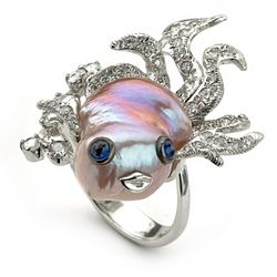 Pearl & Mother of Pearl 160-491 SoHo Boutique 18K White Gold Freshwater Cultured Pearl, Sapphire & Diamond Fish Ring - Size 7 - 160-491