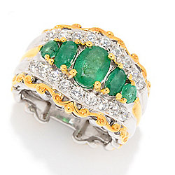 Gems en Vogue 2.30ctw Graduated Zambian Emerald & White Zircon Wide Band Ring