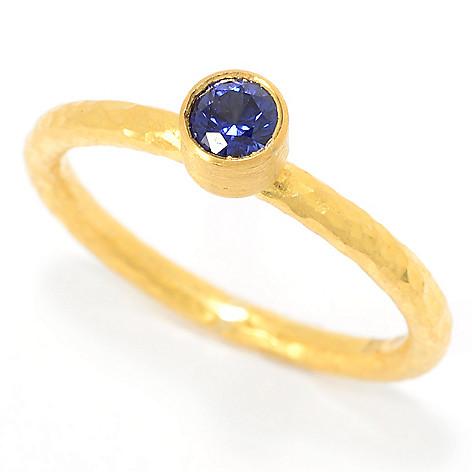 Cevherun 24K_Gold Round_Gemstone Hammered_&_Satin Finished_Band_Ring
