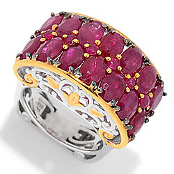 161-732 Gems en Vogue 8.70ctw Oval & Round Ruby 2-Row Ring - 161-732