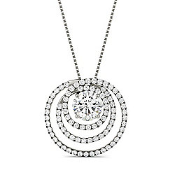 "Forever Brilliant Moissanite 14K White Gold 2.32 DEW Spiral Circle Pendant w/ 18"" Chain"