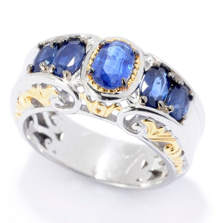 Sparkle in Red, White or Blue Shop Ruby, Diamond & Sapphire Rings - 161-906 Gems en Vogue 1.70ctw Royal Blue Sapphire 5-Stone Band Ring