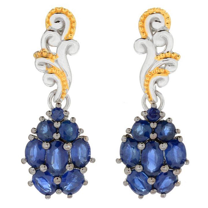 Flash Sale - Take an Extra 20% OFF Select Designer Gemstone Jewelry - 161-909 Gems en Vogue 1 3.20ctw Royal Blue Sapphire Cluster Drop Earrings