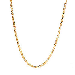 Stefano Oro Men's 14K Gold Choice of Length Semi-Solid Diamond Cut Rope Necklace