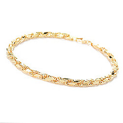 Stefano Oro Men's 14K Gold Choice of Length Semi Solid Diamond Cut Rope Bracelet