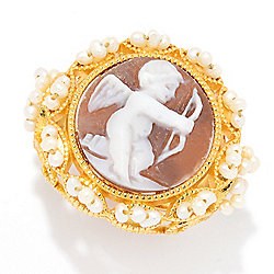 "Cameo Italiano ""Anastasia"" 16mm Shell & Freshwater Cultured Pearl Cupid Ring"