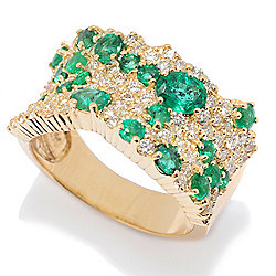 "EFFY ""Brasilica"" 14K Gold 2.65ctw Emerald & Diamond Wide Band Ring"