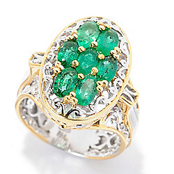Gems en Vogue 1.75ctw Oval Emerald 7-Stone Cluster Ring