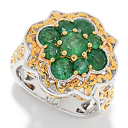 Emerald - Gems en Vogue 1.88ctw Emerald Cluster Quatrefoil Ring - 162-646