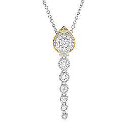 NECKLACES & PENDANTS - 162-681 Gems en Vogue 1.81ctw White Zircon Graduated Linear Pendant - 162-681