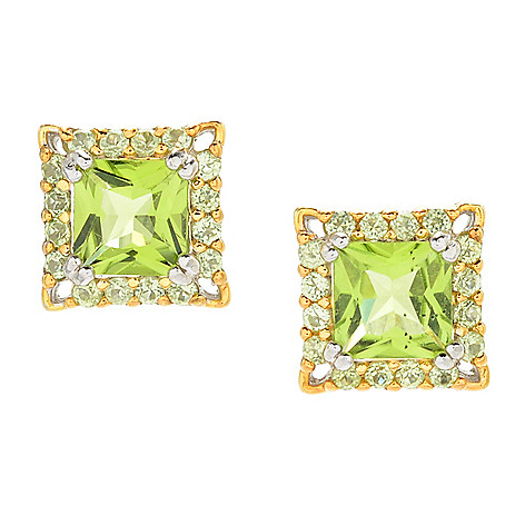162 989 Gems En Vogue 2 99ctw Princess Cut Peridot Halo Stud Earrings