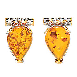 Gems en Vogue 14 x 10mm Pear Shaped Amber & Orange Sapphire Earrings